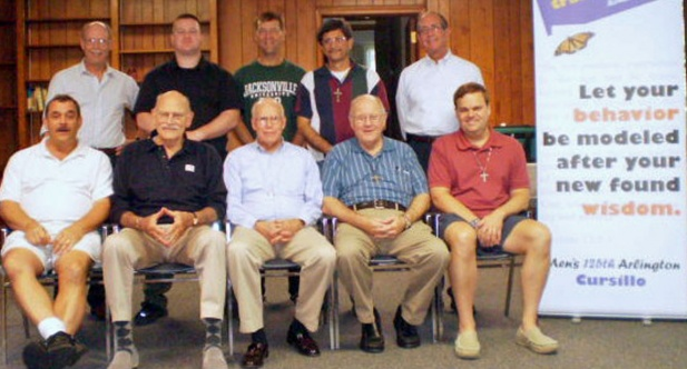 Seated from left: Phil Bettwy, John Rausch, Bob Trainor, Deacon Jim Bayne, Mike McBrady. Standing from left: Mike Leahy, John Finnerty, Bill Grossman, Julian Saenz, Greg Carneal Not pictured: Father Tuck Grinnell and Ron Riggins